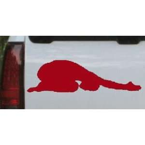 Yoga Pose Silhouettes Car Window Wall Laptop Decal Sticker    Red 26in