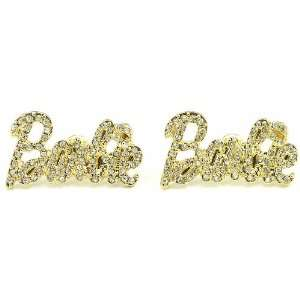 Nicki Minaj Barbie Iced Out Crystal Earrings Gold Color