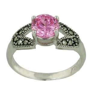 Sterling Silver Marcasite 7mm Solitiare Pink Cubic Zirconia Ring with