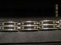 Mens Stainless Steel and Black Cable Link Bracelet NIB