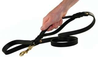 Double Handle Leather Dog Leash Solid Brass