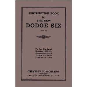 1936 DODGE Car Full Line Owners Manual User Guide
