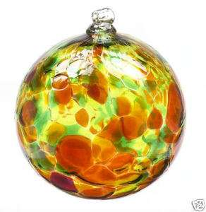 Kitras CALICO WITCH BALL AUTUMN LEAVES Blown Art Glass