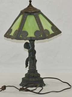 Antique Arts & Crafts Green Slag Glass Shade w/ Cherub Metal Base