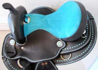 14 BLUE BLING youth Western Trail Barrel kid PONY Saddle bridle tack