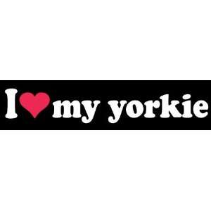8 I Love Heart My Yorkie Dog White Vinyl Decal Sticker