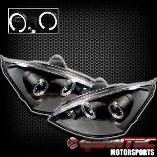 2000 2004 FORD FOCUS TWIN HALO PROJECTOR HEADLIGHTS BLACK HOUSING