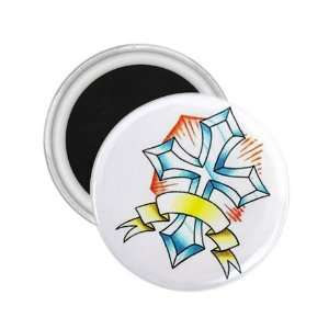 Tattoo Cross Diamond Art Fridge Souvenir Magnet 2.25