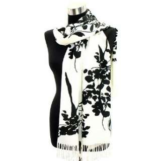 Black and White Print Pashmina   Japanese Flower Tree