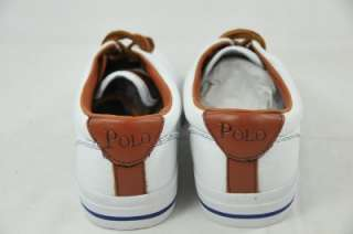 POLO RALPH LAUREN VAUGHN   CANVAS/LEATHER WHITE BOAT SHOES 9D (#4010
