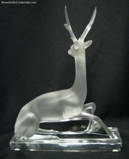 & Rare Lalique Cerf Stag Art Deco Style Art Glass Sculpture