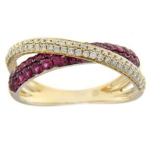 14k Yellow Gold Ruby and Diamond Criss Cross Ring, Size 7