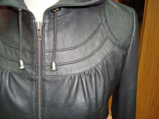 NWT Womens Hooded Leather Jacket Style 2241 Size S XL