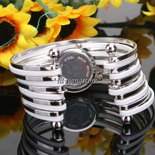 Stainless Steel Band Women Quartz Bangle Wristwatch Bracelet Fashion