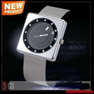 Square Special Dial Unique Black Silver Mens Stainless Steel Quartz