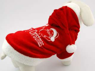 3oy RED CHRISTMAS HOODIE Pet Dog Clothing Apparel Coat #Medium