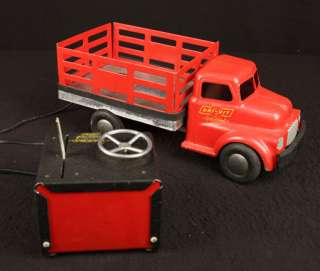 VINTAGE DRI VIT EARLY REMOTE CONTROL PRESSED STEEL TRUCK OLD 110V