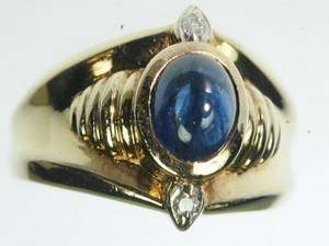 MENS 14K SOLID YELLOW GOLD DIAMOND CABACHON SAPPHIRE ESTATE RING
