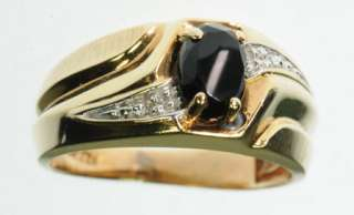 MENS 10K SOLID YELLOW GOLD BLACK ONYX DIAMOND BAND ESTATE RING J221040