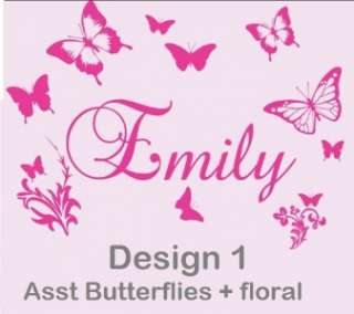 Custom Name Bedroom Wall Sticker with Butterflies Personalised Decal