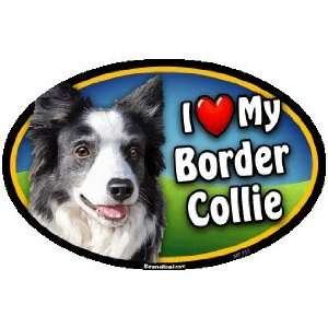 Oval Car Magnet   I Love My Border Collie Kitchen