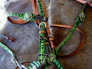 HORSE BRIDLE BREAST COLLAR WESTERN LEATHER HEADSTALL GREEN ZEBRA BLING