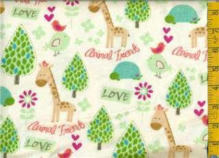yd FLANNEL Giraffe Trees Birds Love Animal Friends on Off White BTY