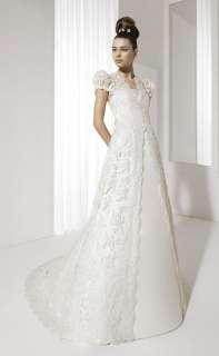 2012 Gorgeous Lace Overlay Wedding Dress Bridal Gown Sleeves Free Size