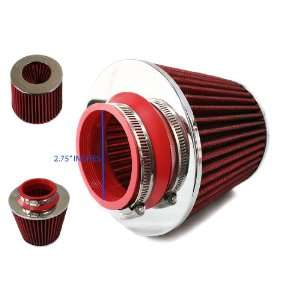 2.75 2.75 Inch Universal Dry Flow Red Air Filter By Bomz