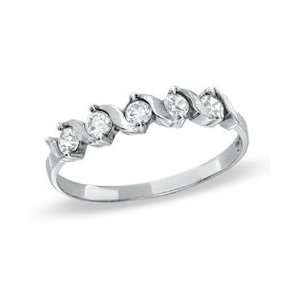 Cubic Zirconia Five Stone Wedding Band in 10K White Gold   Size 7 CZ