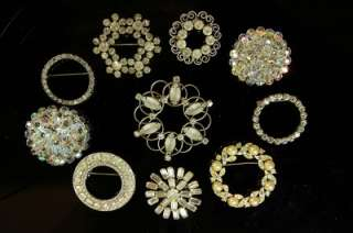 Lot 10   Vintage Silver Tone Clear Rhinestone Pin Brooch Jewelry