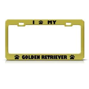 Golden Retriever Dog Animal Metal license plate frame Tag