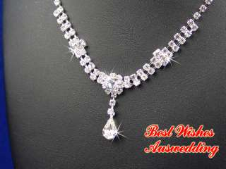 Wedding Bridal Crystal Rhinestone Necklace Earrings Set