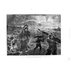 1872 Eruption Mount Vesuvius Peasant People Lava