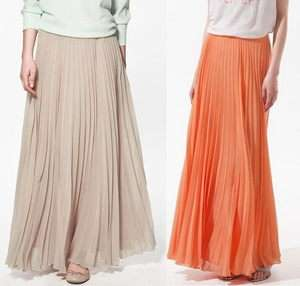Maxi Long Pleated Chiffon Skirt Dress/Navy/Blue/Red/Pink/Beige/Orange
