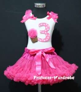 Hot Pink Pettiskirt Dots 3rd Birthday Cupcake Baby Set