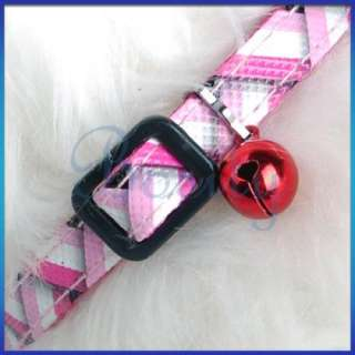 Pet Dog Collar Leash Neck Strap Knit Print Pink Nylon