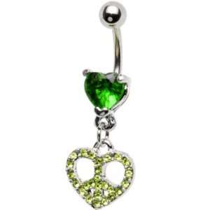 Green Gem Paved Peace Sign Heart Belly Ring Jewelry