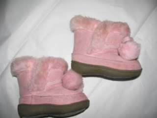 Faded Glory light pink faux fur lined man made suede boots TODDLER