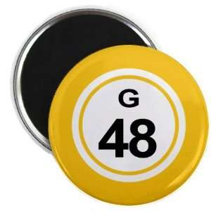 Bingo Ball G48 FORTY EIGHT Yellow 2.25 inch Fridge Magnet