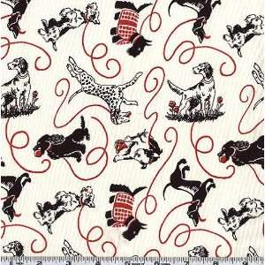 45 Wide Pampered Pooch Walk the Dog Black Fabric By The