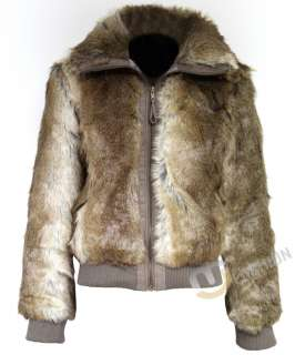 new in fashion womens bomber jacket faux fur