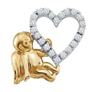 Heart Angel Diamond Pendant 14k White Yellow Gold Charm (0