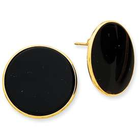 14k Polished Yellow Gold Black Onyx Post Earrings Available in