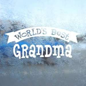 Worlds Best Grandma White Decal Car Window Laptop White