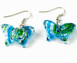 G2582 Blue Murano glass Butterfly Necklace Earrings set