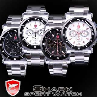 SHARK All LED Quartz LCD Chronograph 6 Hands Date Day Alarm Men Sport