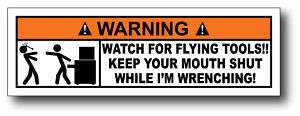 Flying Tools Funny Toolbox Warning Sticker Decal Mat