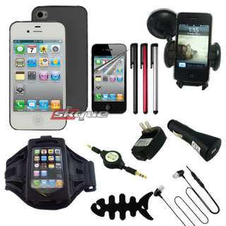 10 Item Complete Accessories Bundle Combo Pack For Apple iPhone 4