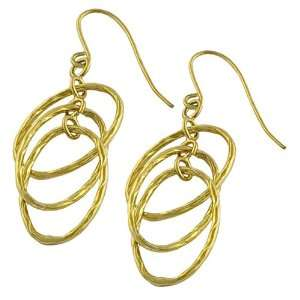 14 Karat Yellow Gold Interlocked Oval Rings Dangle